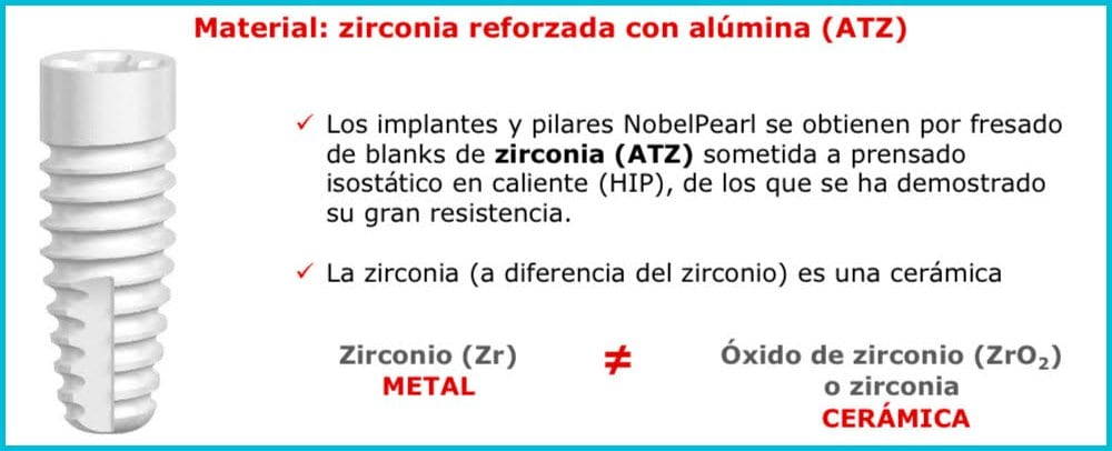 material tratamiento implantes sin metal